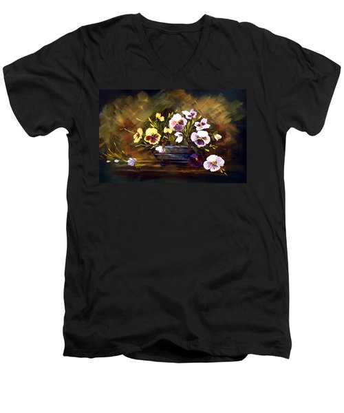 Men's V-Neck T-Shirt featuring the painting Blue Vase With Pansies by Dorothy Maier