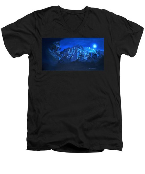 Men's V-Neck T-Shirt featuring the painting Blue Village by Joseph Hawkins