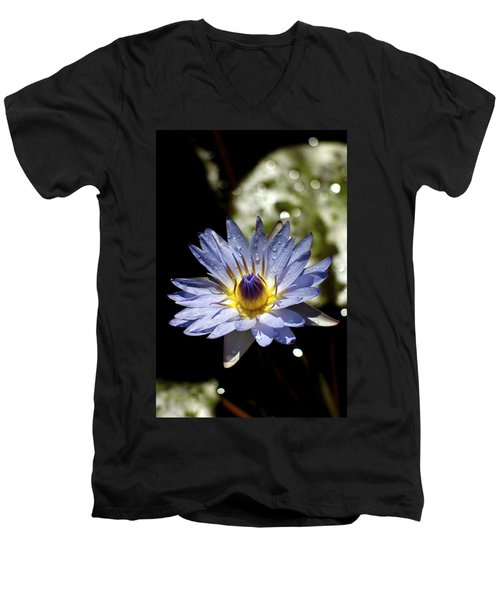 Men's V-Neck T-Shirt featuring the photograph Waterlily After The Rain ... by Lehua Pekelo-Stearns