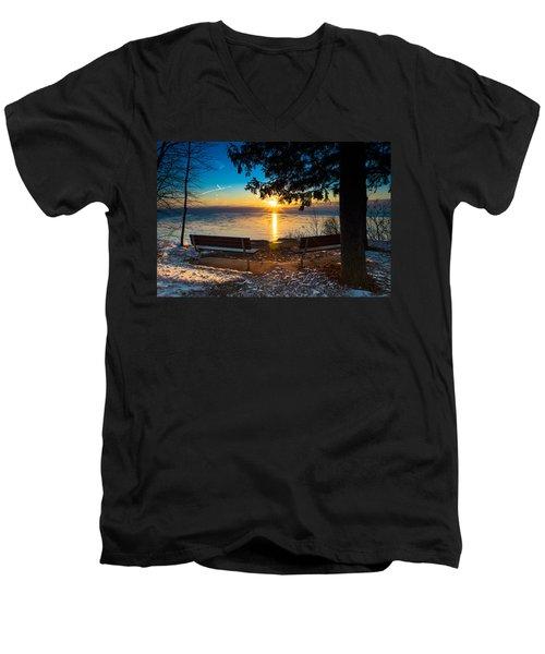 Bluff  Benches Men's V-Neck T-Shirt