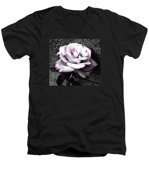 Men's V-Neck T-Shirt featuring the photograph Blushing White Rose by Shawna Rowe