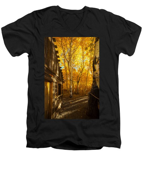 Boat House Among The Autumn Leaves  Men's V-Neck T-Shirt by Jerry Cowart