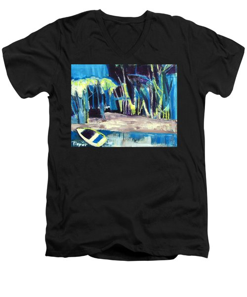 Boat On Shore Line With Trees On Land Men's V-Neck T-Shirt