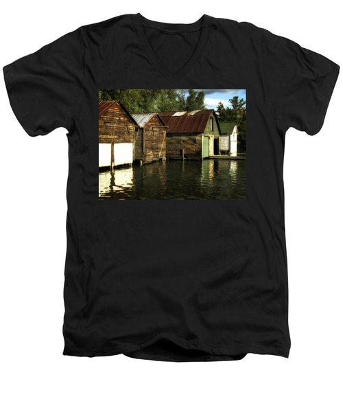 Boathouses On The River Men's V-Neck T-Shirt