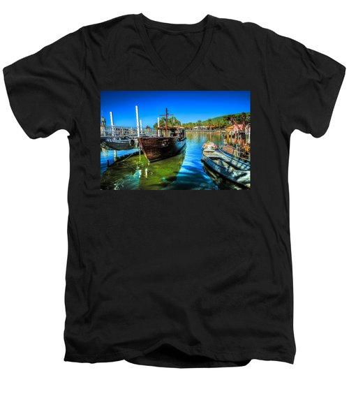 Boats At Kibbutz On Sea Galilee Men's V-Neck T-Shirt