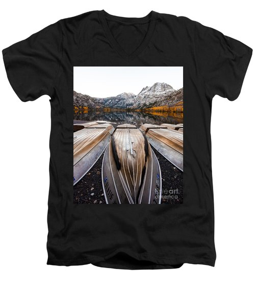 Boats At Mountain Lake In Autumn Fine Art Photograph Print Men's V-Neck T-Shirt by Jerry Cowart