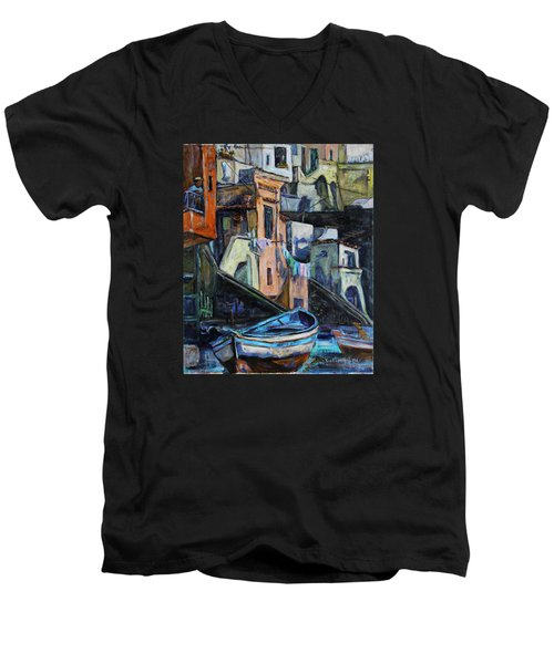 Men's V-Neck T-Shirt featuring the painting Boats In Front Of The Buildings I  by Xueling Zou