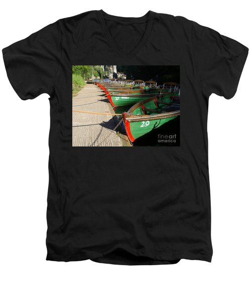 Men's V-Neck T-Shirt featuring the photograph Boats Waiting For Kids by Doc Braham