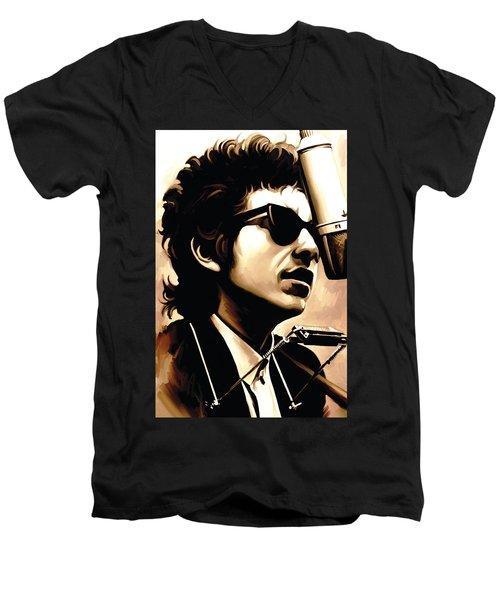Bob Dylan Artwork 3 Men's V-Neck T-Shirt by Sheraz A