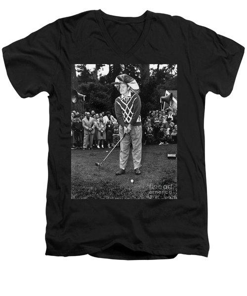 Bob Hope At Bing Crosby National Pro-am Golf Championship  Pebble Beach Circa 1955 Men's V-Neck T-Shirt