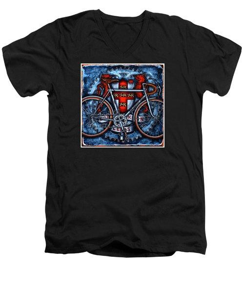 Men's V-Neck T-Shirt featuring the painting Bob Jackson by Mark Howard Jones