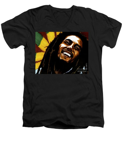 Bob Marley Rastafarian Men's V-Neck T-Shirt