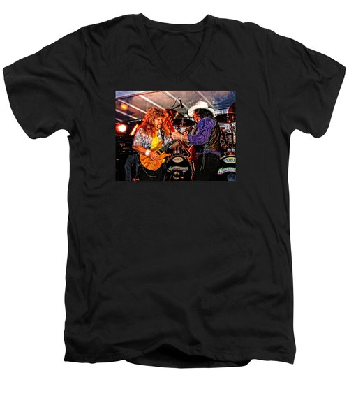 Bobby And Russ Jammin' Men's V-Neck T-Shirt by Mike Martin