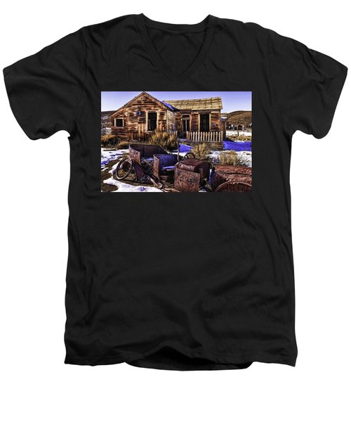 Men's V-Neck T-Shirt featuring the painting Bodie by Muhie Kanawati