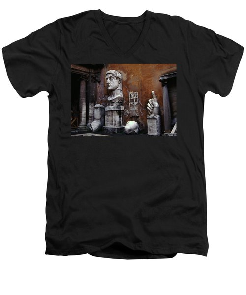 Men's V-Neck T-Shirt featuring the photograph Body Parts The Colossus Of Constantine Rome by Tom Wurl