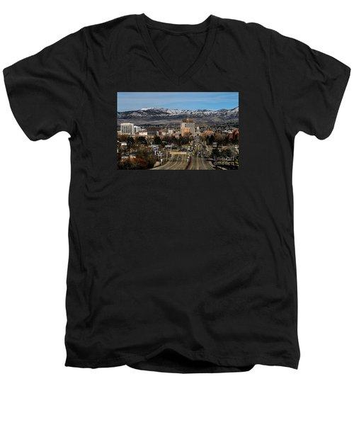 Boise Idaho Men's V-Neck T-Shirt by Robert Bales