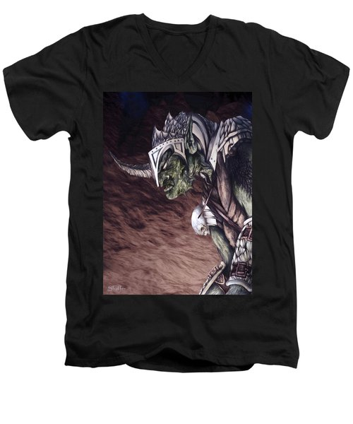 Men's V-Neck T-Shirt featuring the mixed media Bolg The Goblin King 2 by Curtiss Shaffer