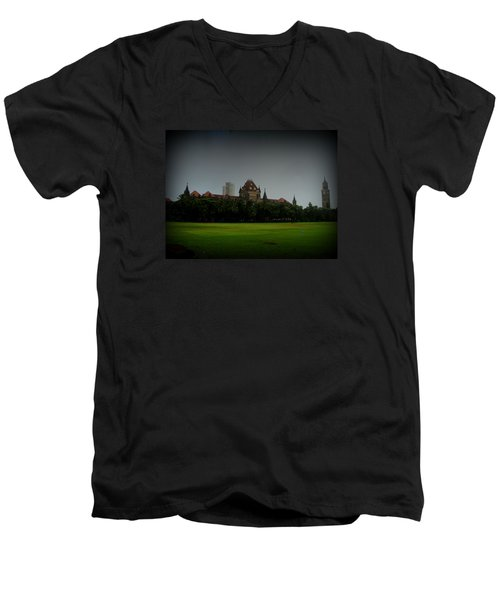 Men's V-Neck T-Shirt featuring the photograph Bombay High Court by Salman Ravish