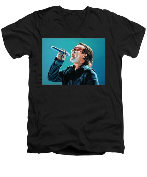 Bono Of U2 Painting Men's V-Neck T-Shirt by Paul Meijering