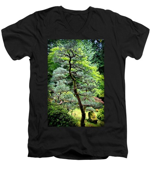 Bonsai Tree Men's V-Neck T-Shirt by Athena Mckinzie