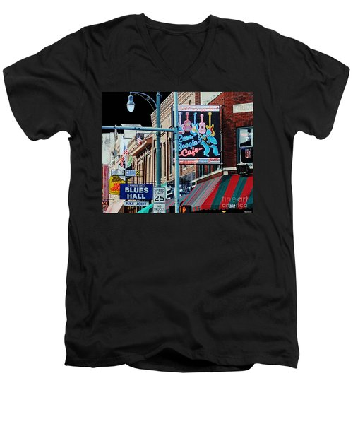 Boogie On Beale St Memphis Tn Men's V-Neck T-Shirt by Lizi Beard-Ward