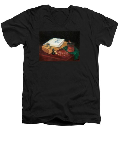 Books-chess-coffee Men's V-Neck T-Shirt