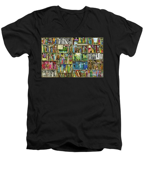 Bookshelf Men's V-Neck T-Shirt by Colin Thompson