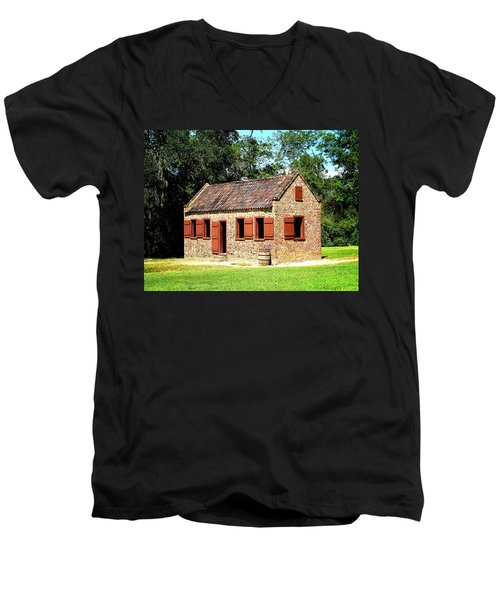 Men's V-Neck T-Shirt featuring the photograph Boone Hall Plantation Slave Quarters by Greg Simmons