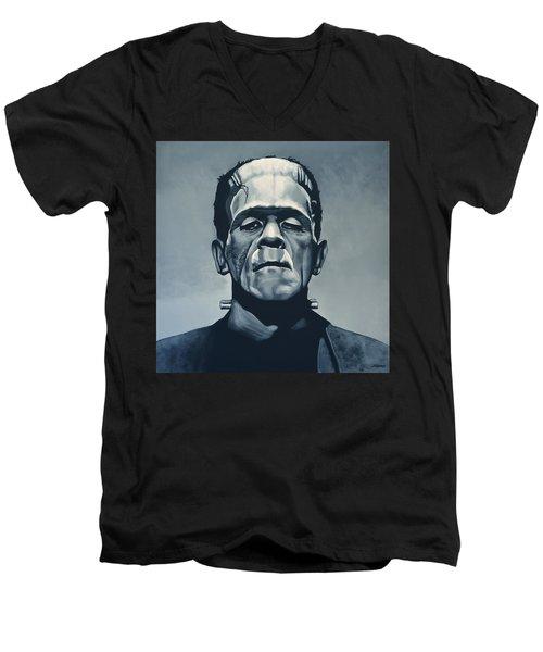 Boris Karloff As Frankenstein  Men's V-Neck T-Shirt