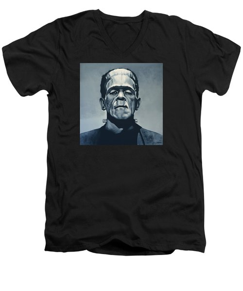 Boris Karloff As Frankenstein  Men's V-Neck T-Shirt