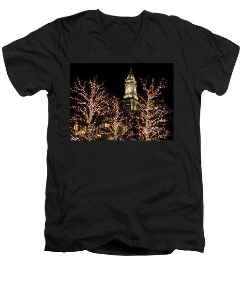 Boston Custom House With Christmas Lights Men's V-Neck T-Shirt