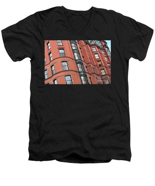 Boston Ma Building Facade Men's V-Neck T-Shirt