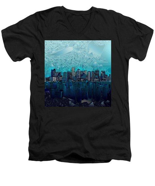 Boston Skyline Abstract Blue Men's V-Neck T-Shirt