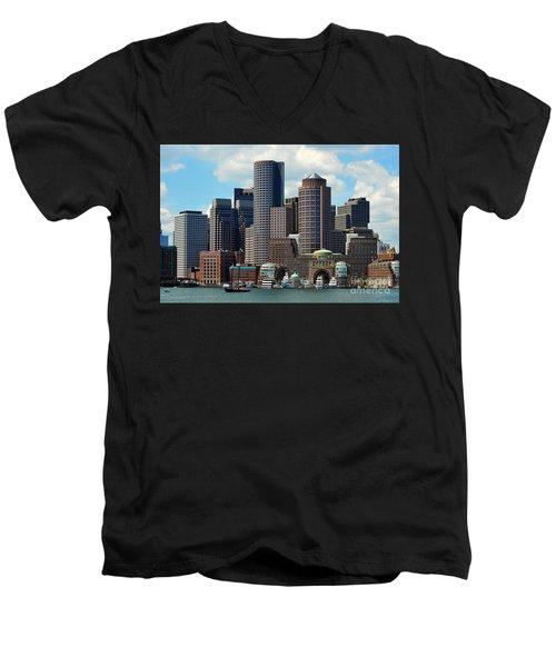 Boston Skyline Men's V-Neck T-Shirt by Randi Grace Nilsberg