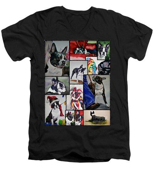 Boston Terrier Watercolor Collage Men's V-Neck T-Shirt