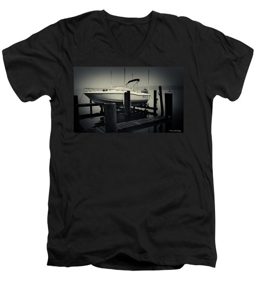 Boston Whaler In The Fog Men's V-Neck T-Shirt