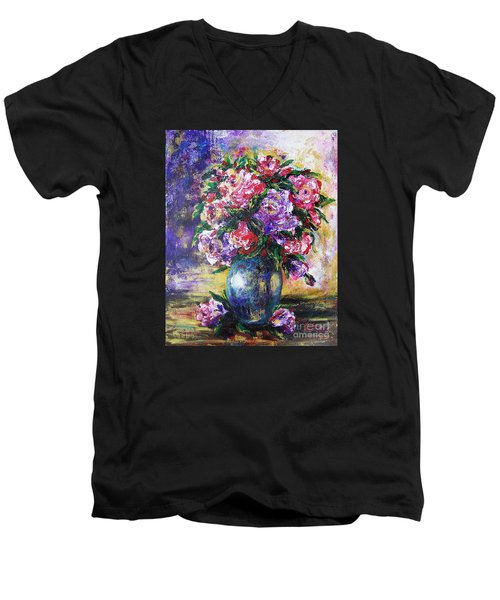 Men's V-Neck T-Shirt featuring the painting Bouquet Of Scents by Vesna Martinjak