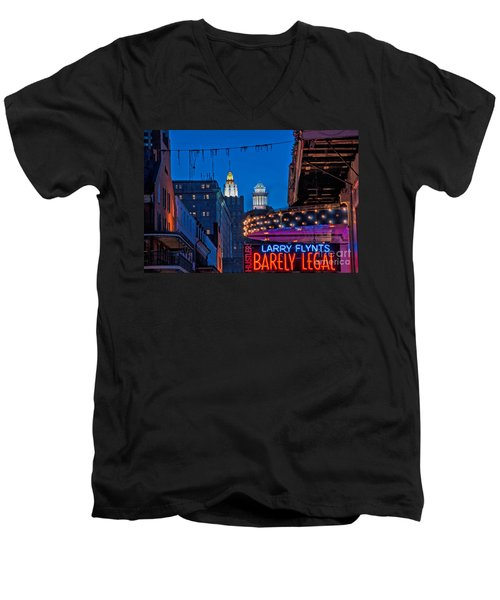 Bourbon Street And Cbd Lights  Men's V-Neck T-Shirt by Kathleen K Parker