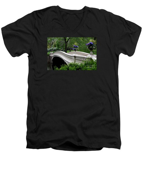 Bow Bridge Flower Pots - Central Park N Y C Men's V-Neck T-Shirt