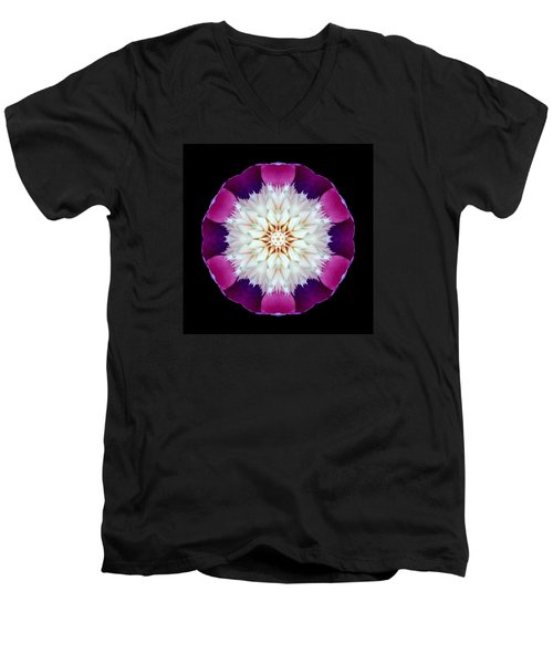 Bowl Of Beauty Peony II Flower Mandala Men's V-Neck T-Shirt by David J Bookbinder