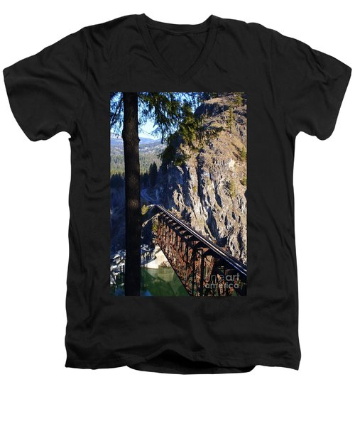 Box Canyon Dam Railroad Crossing Men's V-Neck T-Shirt