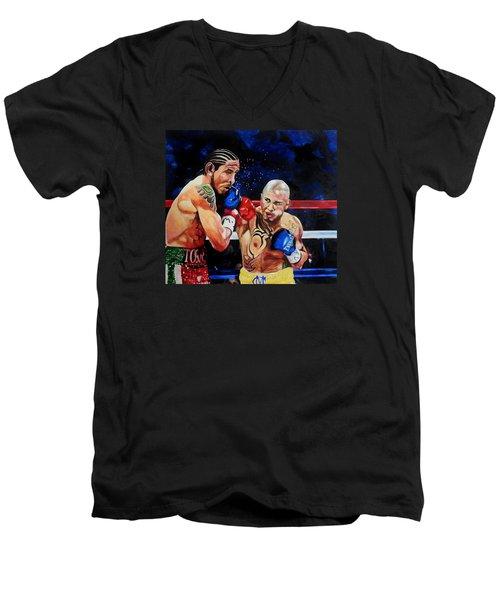 Boxing Men's V-Neck T-Shirt by Raymond Perez