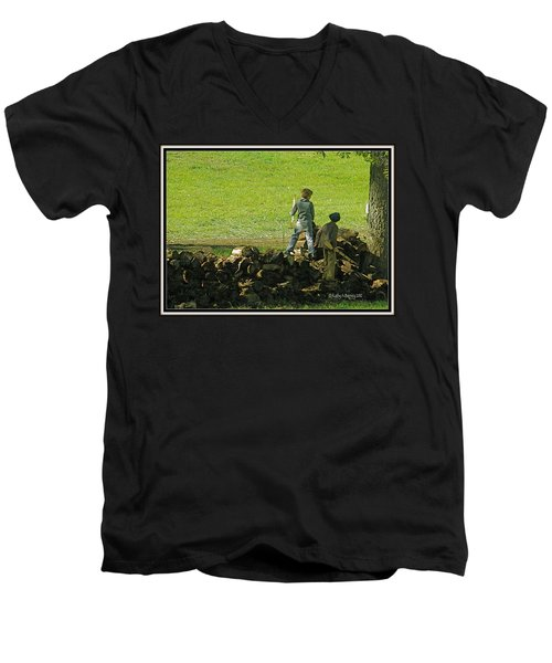 Men's V-Neck T-Shirt featuring the photograph Boys Will Be Boys by Kathy Barney