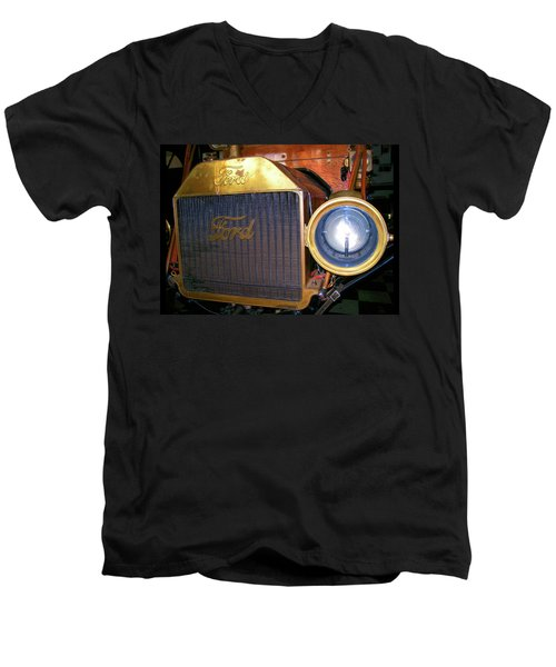 Men's V-Neck T-Shirt featuring the photograph Brass Eye by Larry Bishop