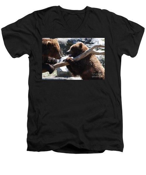Brawling Bears Men's V-Neck T-Shirt by DejaVu Designs