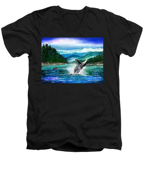 Breaching Humpback Whale Men's V-Neck T-Shirt by Patricia L Davidson