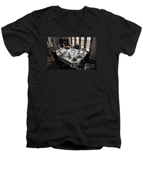 Downton Abbey Breakfast Men's V-Neck T-Shirt by The Art of Alice Terrill