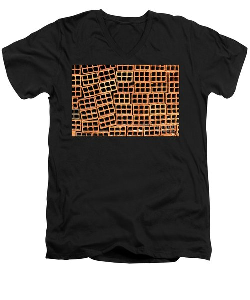 Brick Abstract Men's V-Neck T-Shirt by Vivian Christopher
