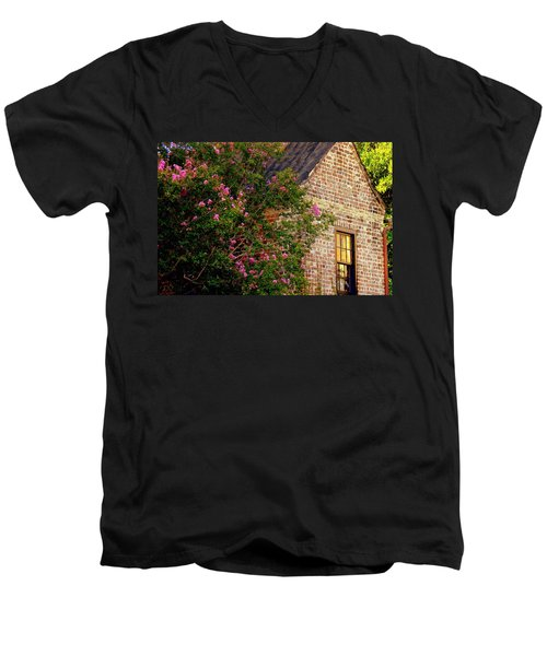 Men's V-Neck T-Shirt featuring the photograph Brick And Myrtle by Rodney Lee Williams