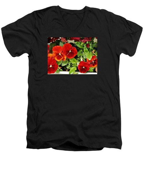 Men's V-Neck T-Shirt featuring the photograph Brick Pansies by VLee Watson